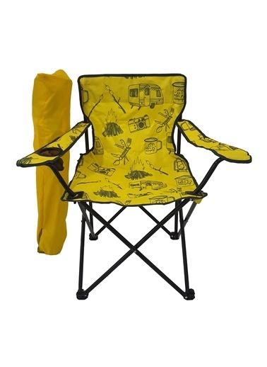 Bofigo Bofigo Kamp Sandalyesi Katlanır Sandalye Bahçe Koltuğu Piknik Plaj Balkon Sandalyesi Desenli Sarı
